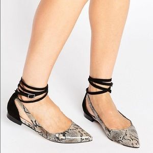ASOS Lolly Snakeskin Pointed Flats
